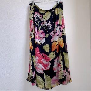 Dana Buchman | Silk Tropical Floral Skirt